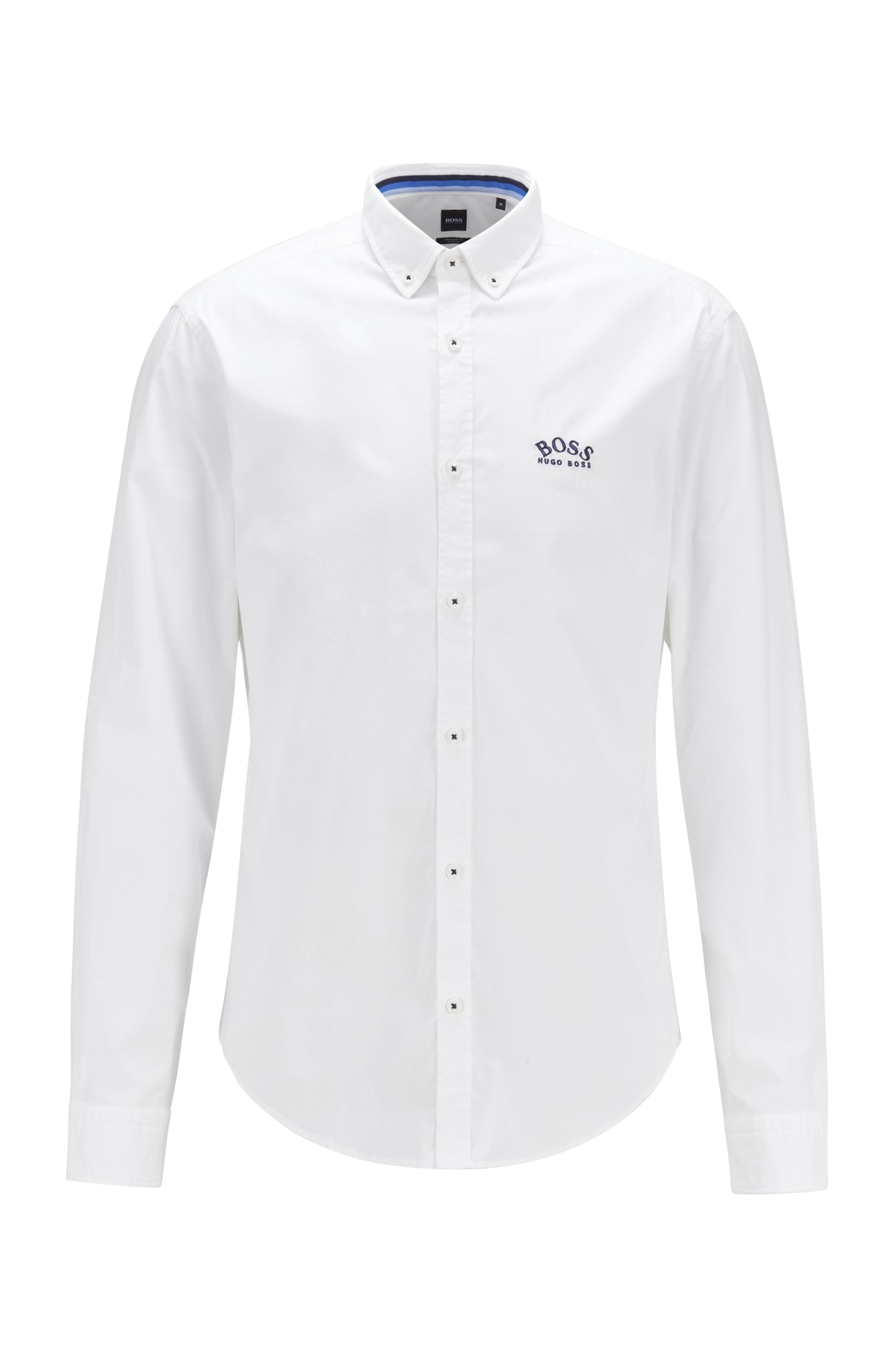 Regular-fit button-down shirt in stretch-cotton poplin, White