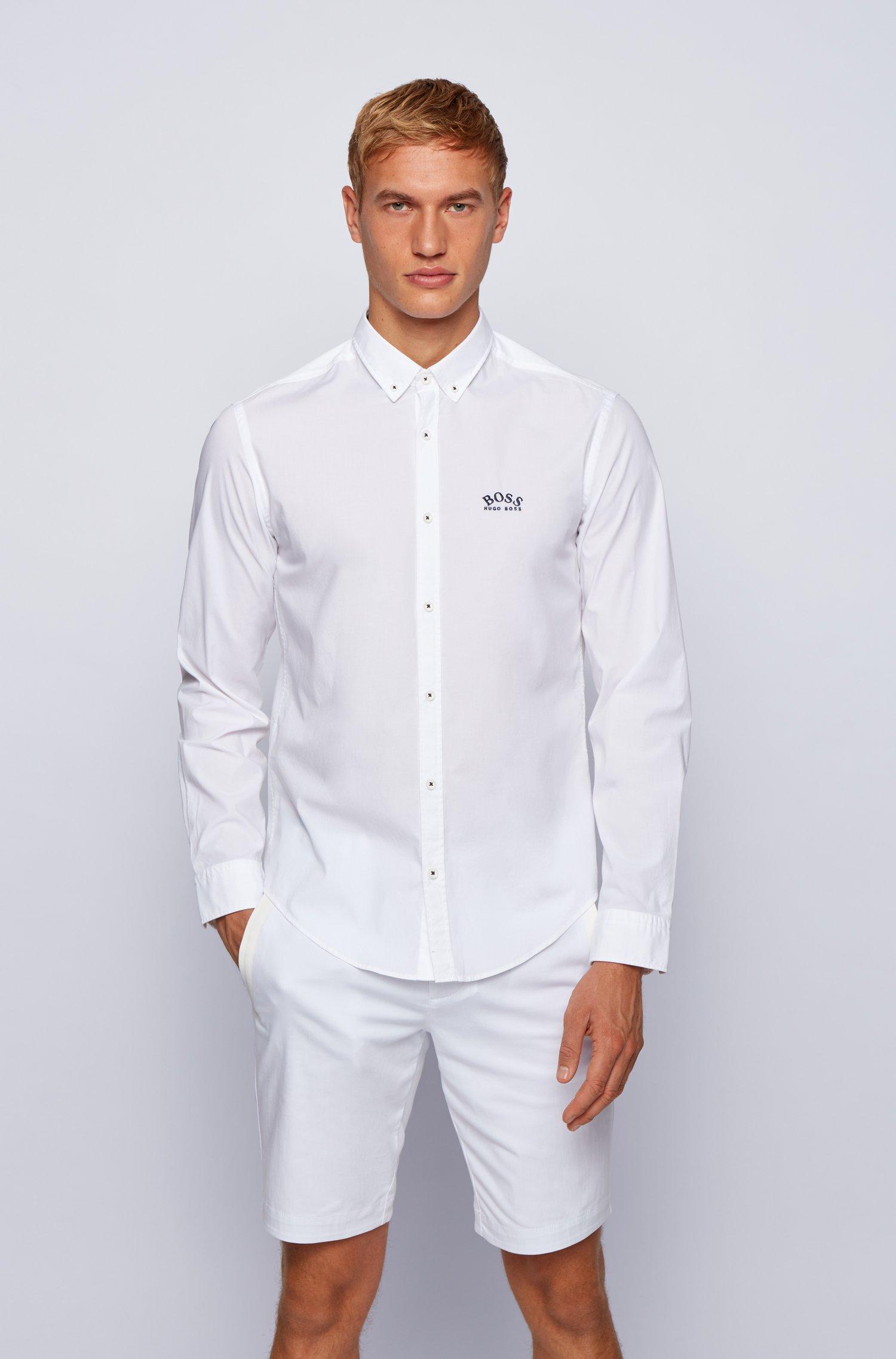 Regular-fit overhemd met buttondownkraag in popeline van stretchkatoen, Wit