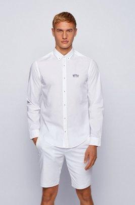 Regular-fit button-down shirt in stretch-cotton poplin, White
