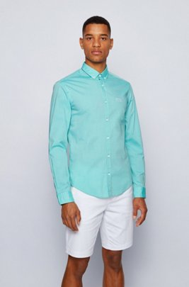 Regular-fit button-down shirt in stretch-cotton poplin, Green