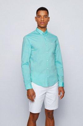 Camicia button down regular fit in popeline di cotone elasticizzato, Verde