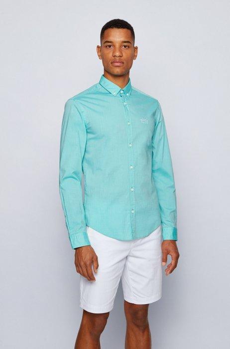 Regular-fit button-down shirt in stretch-cotton poplin, Green