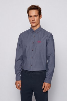 Regular-fit button-down shirt in stretch-cotton poplin, Dark Blue
