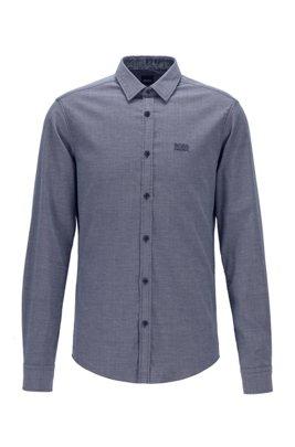Slim-fit Oxfordoverhemd met contrasterende logoprints, Lichtblauw