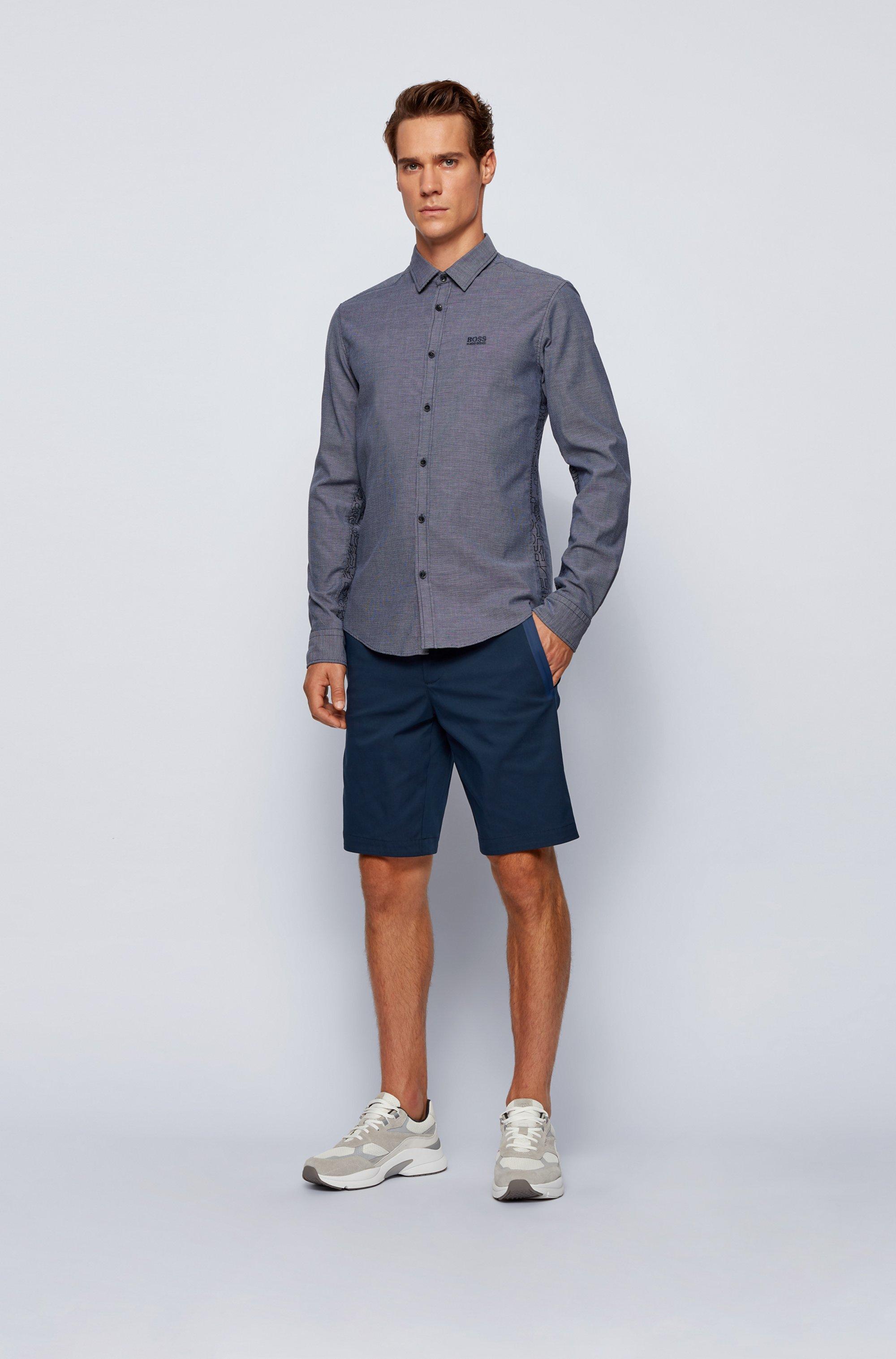 Slim-fit Oxfordoverhemd met contrasterende logoprints