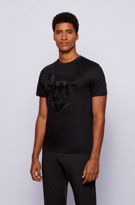 Mercerised-cotton slim-fit T-shirt with ox-head artwork, Black