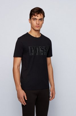 Stretch-cotton T-shirt with rhinestone logo, Black