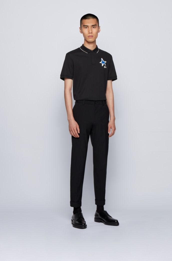 Mercerised-cotton polo shirt with star and logo motifs