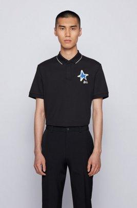 Poloshirt aus merzerisierter Baumwolle mit Stern- und Logo-Details, Schwarz