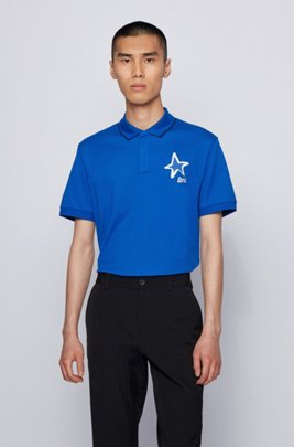 Mercerised-cotton polo shirt with star and logo motifs, Light Blue