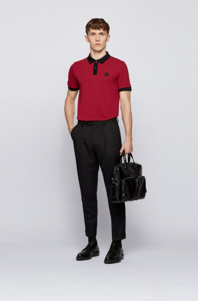 Slim-fit polo shirt in mercerised piqué with contrast trims