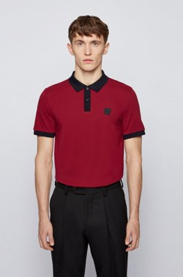 Slim-fit polo shirt in mercerised piqué with contrast trims, Dark Red