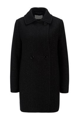 Double-breasted tweed coat with sparkling yarns, Black