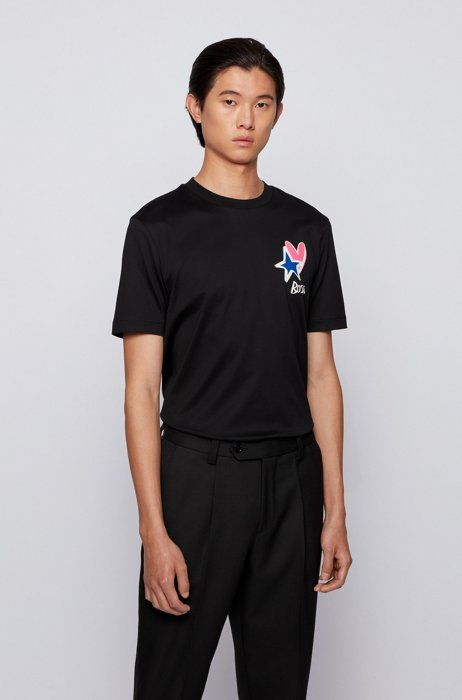 Mercerised-cotton T-shirt with heart and star motifs, Black