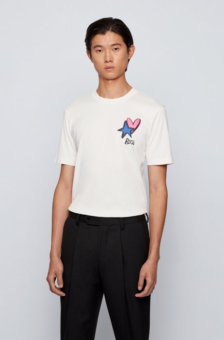 Mercerised-cotton T-shirt with heart and star motifs, White