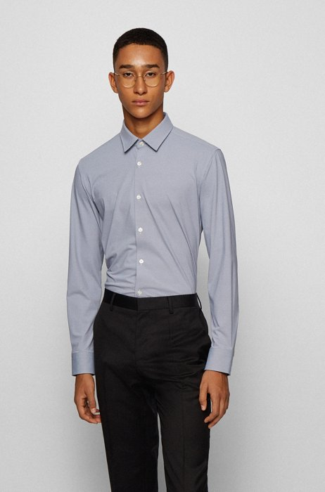 Slim-fit shirt in patterned performance-stretch fabric, Black