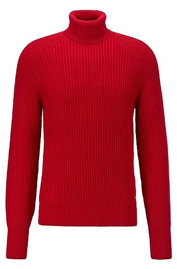 粗针初剪羊毛高翻领毛衣,  620_亮红色