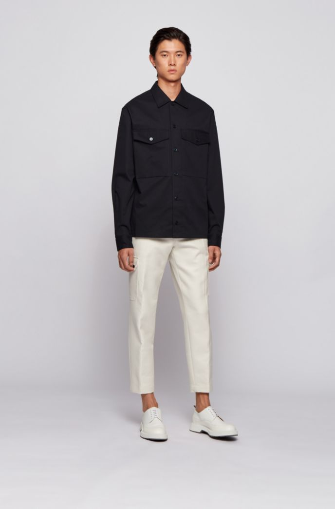 Relaxed-fit overshirt with flap pockets