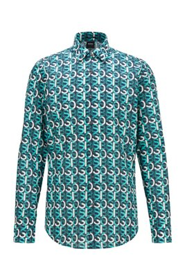 Regular-fit shirt in cotton with overlapping logo print, Light Green