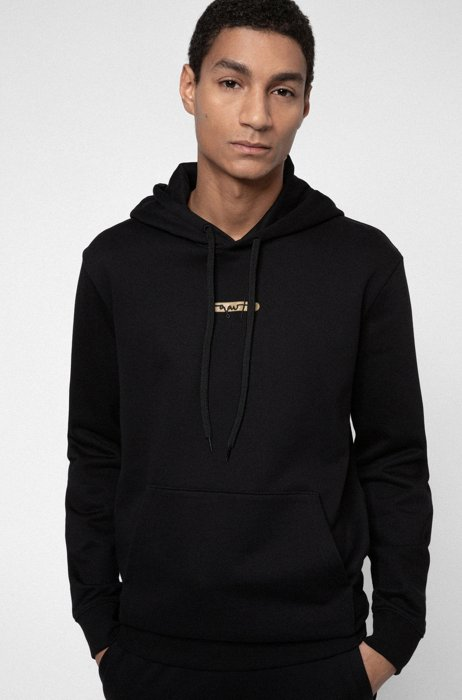 French-terry hoodie with new-season logo embroidery, Black