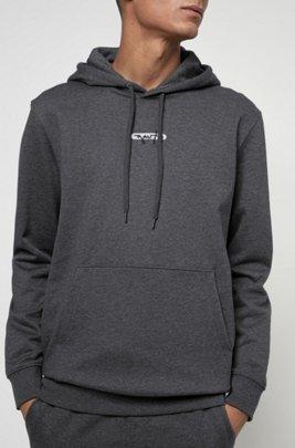 Kapuzen-Sweatshirt aus French Terry mit Logo-Stickerei der neuen Saison, Grau