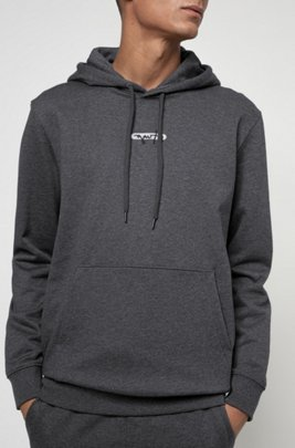 French-terry hoodie with new-season logo embroidery, Grey