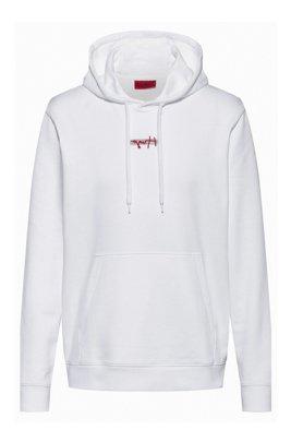 Kapuzen-Sweatshirt aus French Terry mit Logo-Stickerei der neuen Saison, Weiß