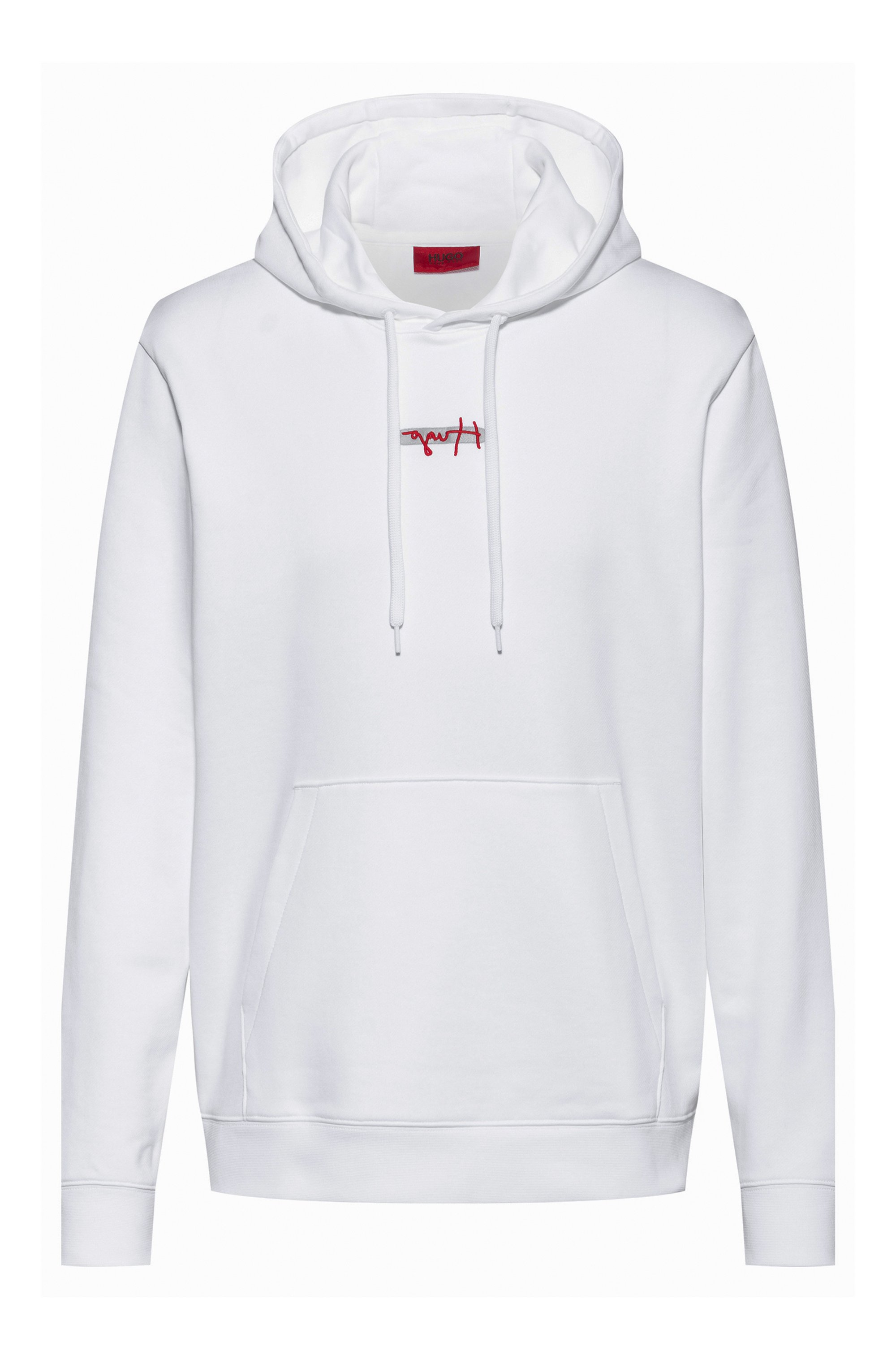 French-terry hoodie with new-season logo embroidery, White
