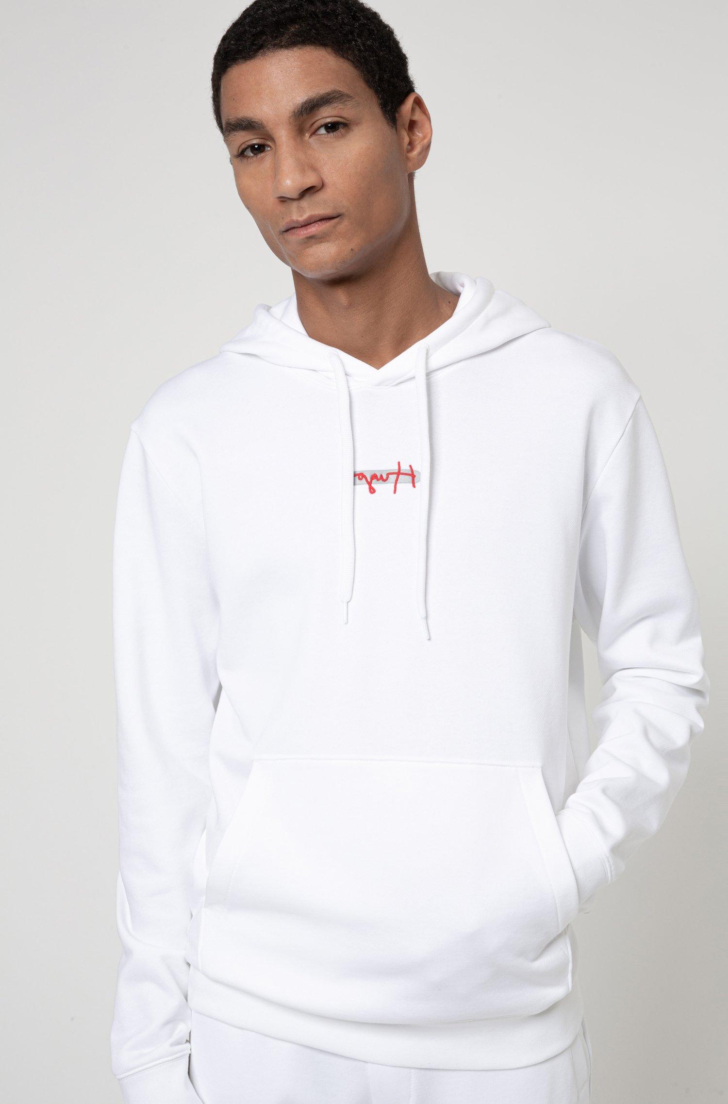 Sweat à capuche en molleton avec logo brodé de la nouvelle saison, Blanc