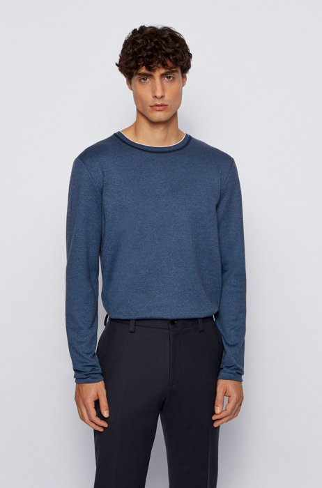 Slim-fit T-shirt in mouliné cotton with long sleeves, Dark Blue