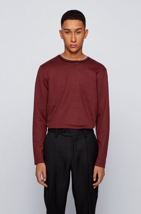 Slim-fit T-shirt in mouliné cotton with long sleeves, Dark Red