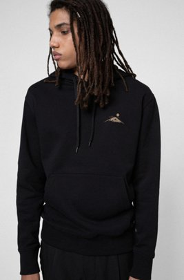 Cotton-fleece hoodie with reflective golden sun prints, Black