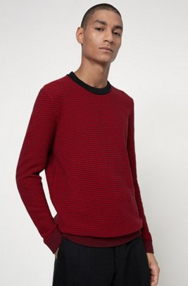 Cotton crew-neck sweater in two-coloured structure, Red