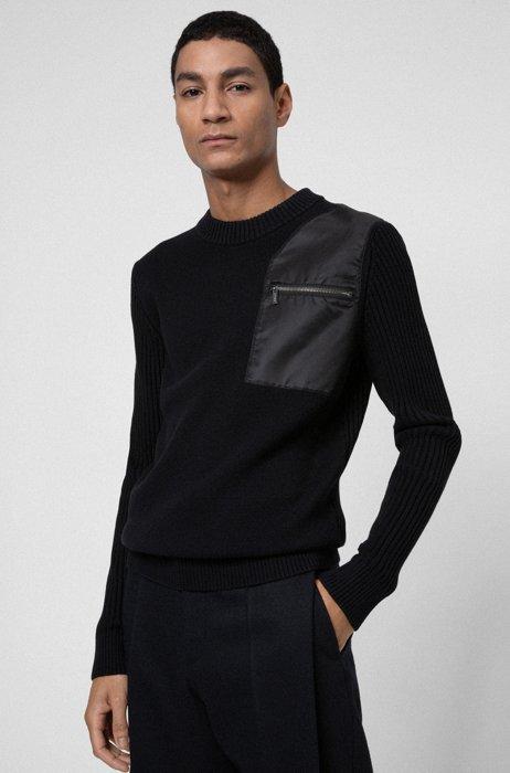 Pullover aus Baumwolle mit Schurwolle und Tasche auf Kontrast-Patch, Schwarz