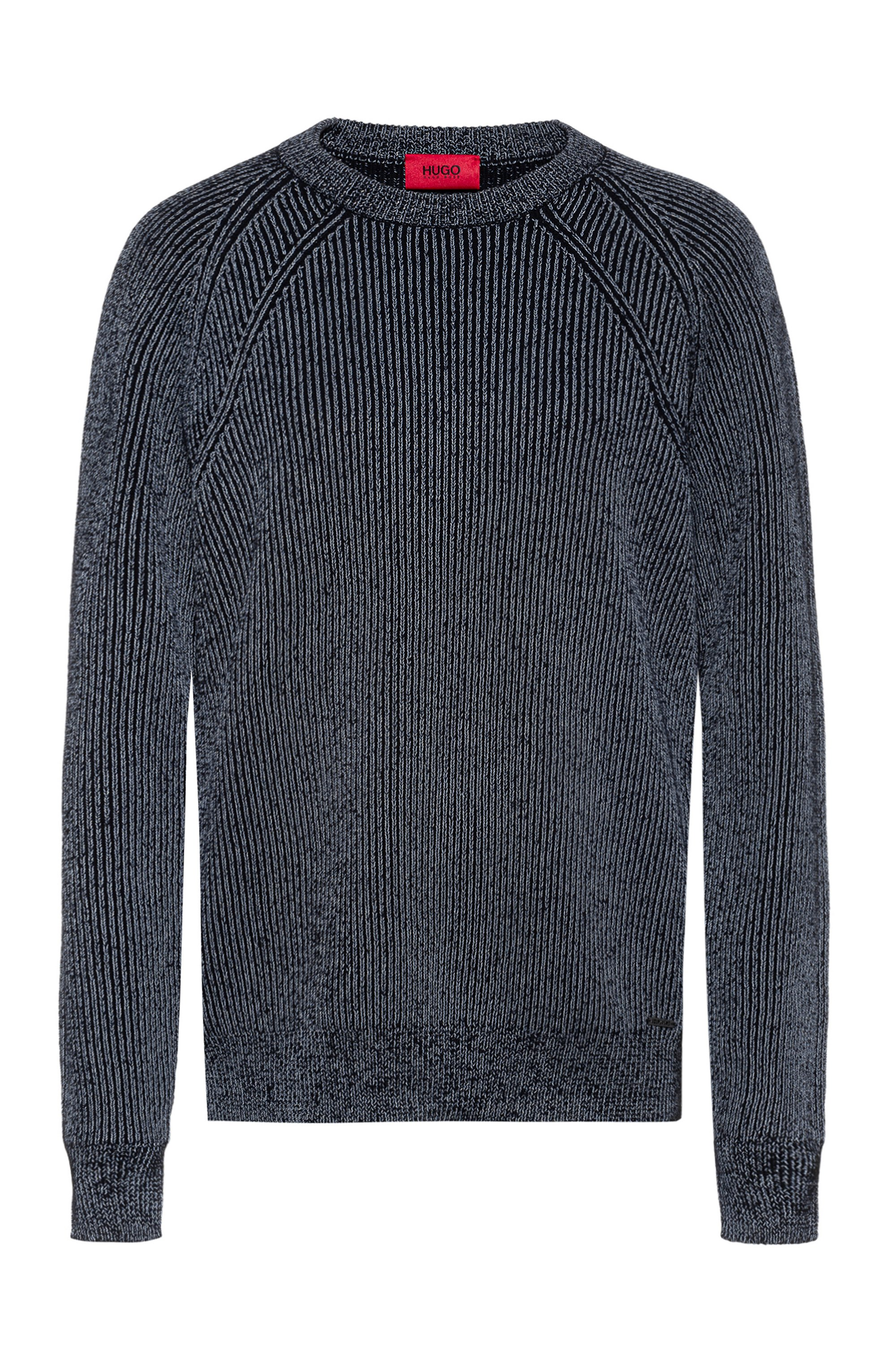 Crew-neck ribbed sweater in reflective cotton-blend yarn, Silver