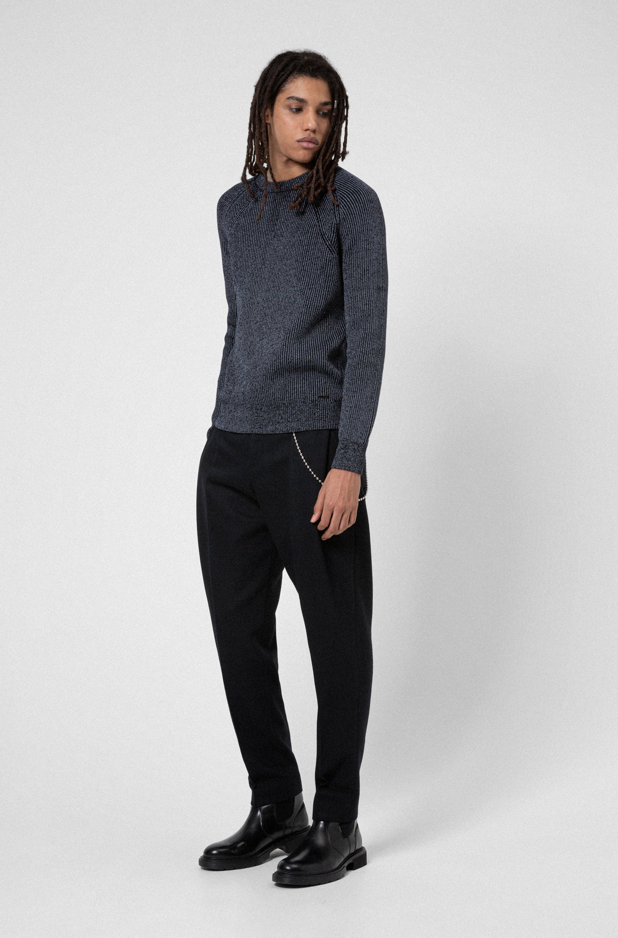 Crew-neck ribbed sweater in reflective cotton-blend yarn