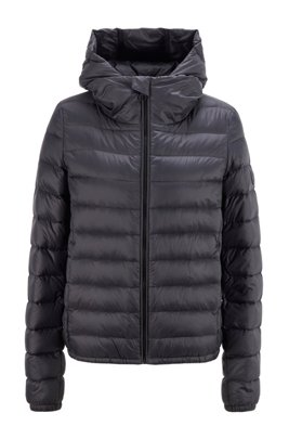 Hooded down jacket in water-repellent fabric, Black