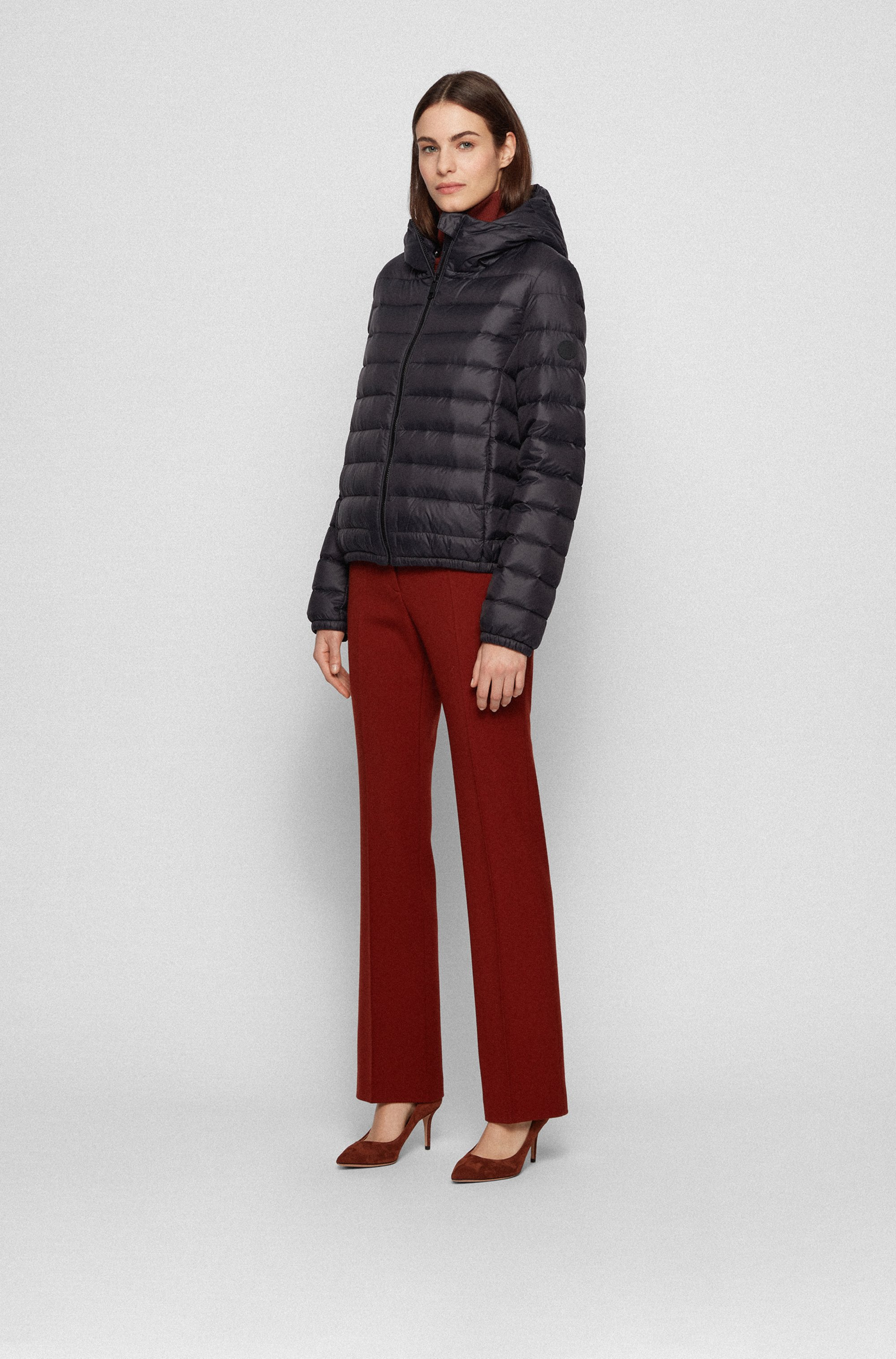 Hooded down jacket in water-repellent fabric
