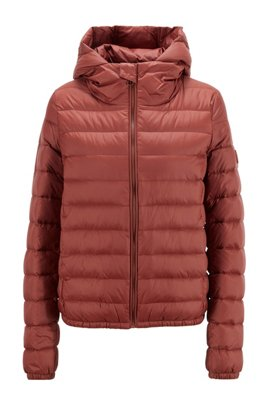 Hooded down jacket in water-repellent fabric, Brown