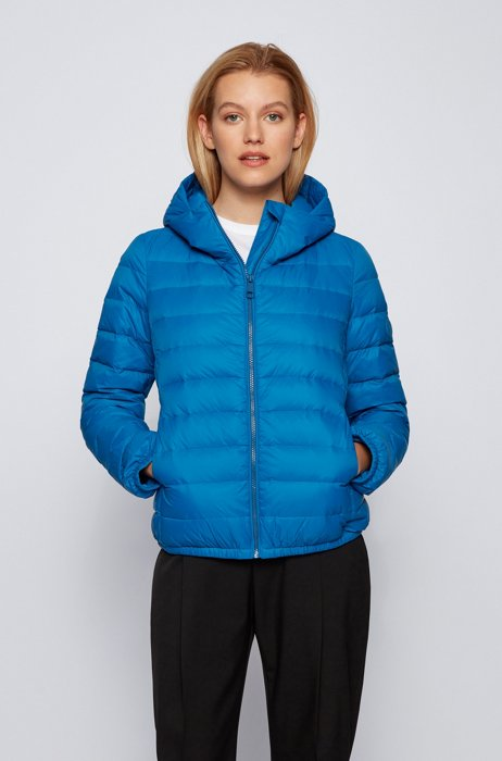 Hooded down jacket in water-repellent fabric, Blue