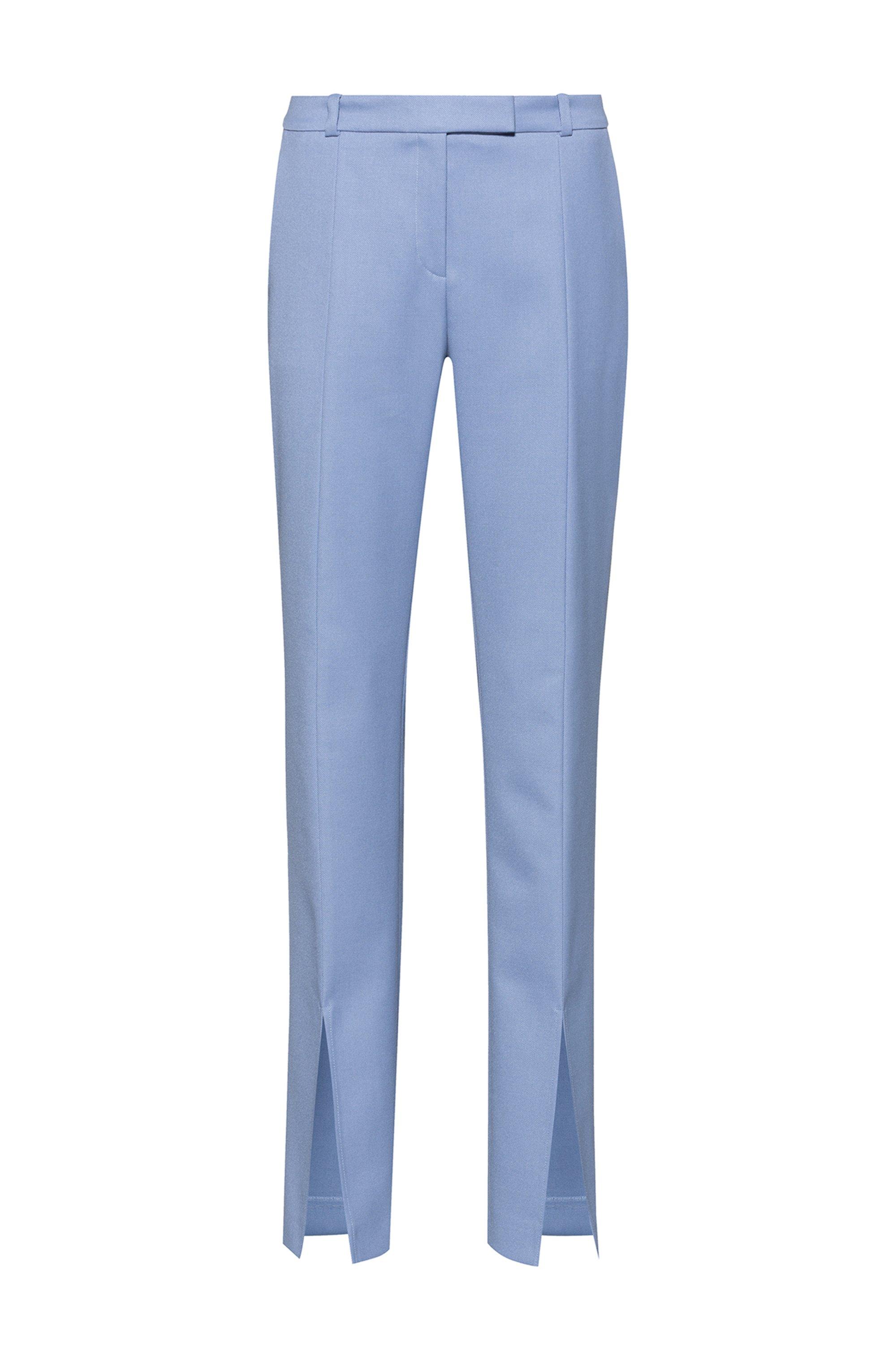 Pantaloni regular fit con gamba svasata e spacchi sulla parte anteriore, Blu