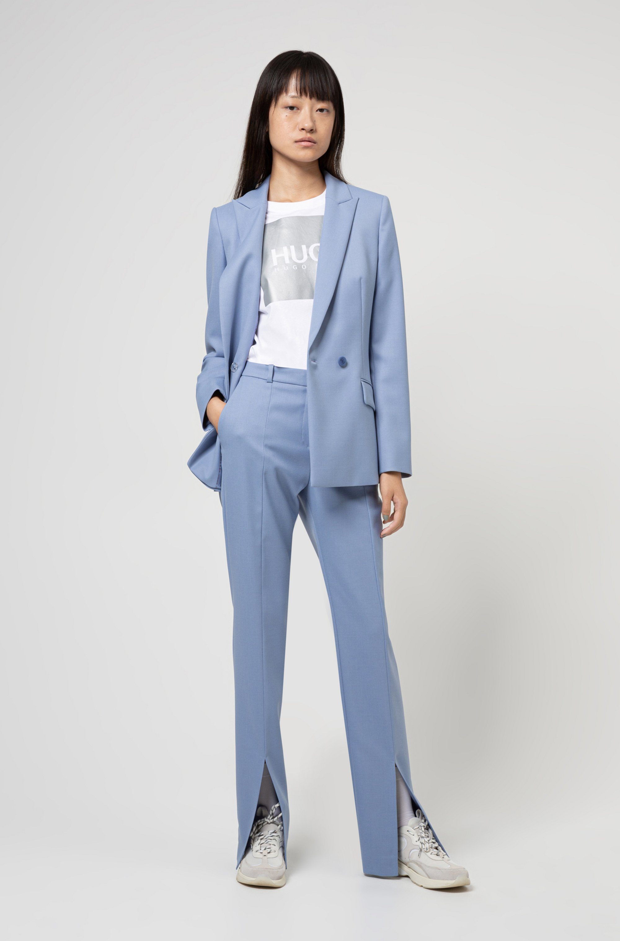 Regular-fit boot-leg trousers with front slits