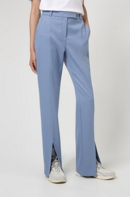 Regular-fit boot-leg trousers with front slits, Blue