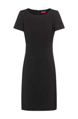 Short-sleeved shift dress in worsted stretch virgin wool , Black