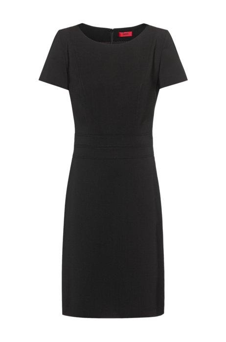 Short-sleeved shift dress in worsted stretch virgin wool , Black