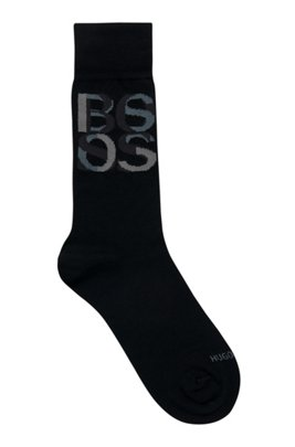 Overlapping-logo socks in bamboo viscose, Black