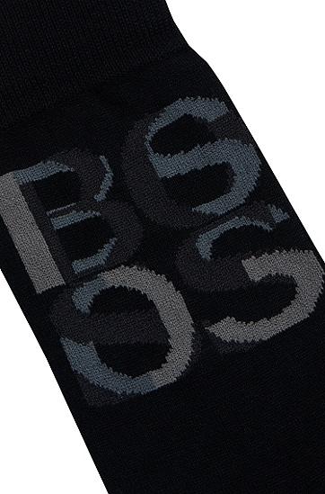 饰以重叠徽标的竹浆粘胶纤维中长袜,  001_Black