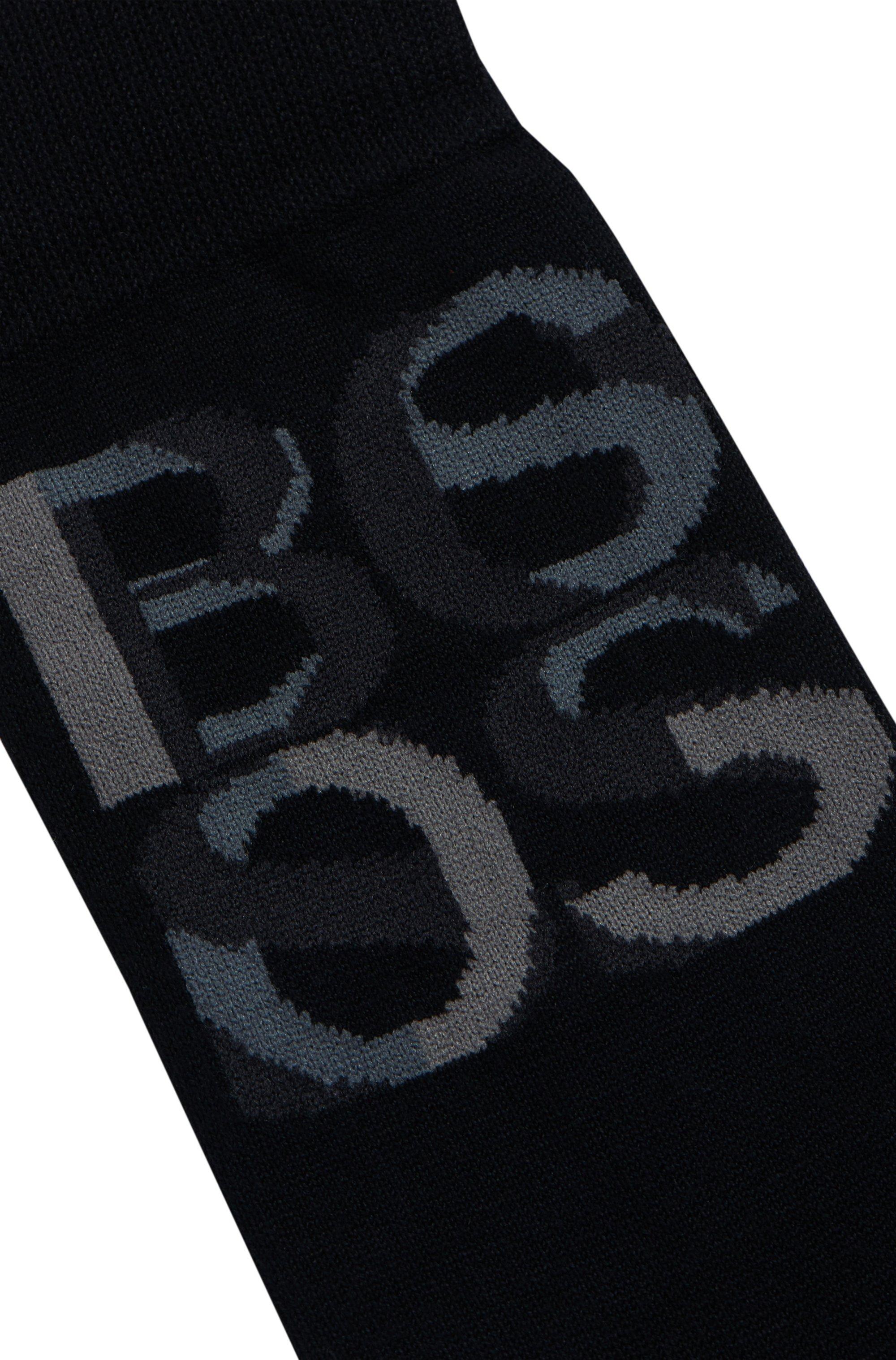 Overlapping-logo socks in bamboo viscose