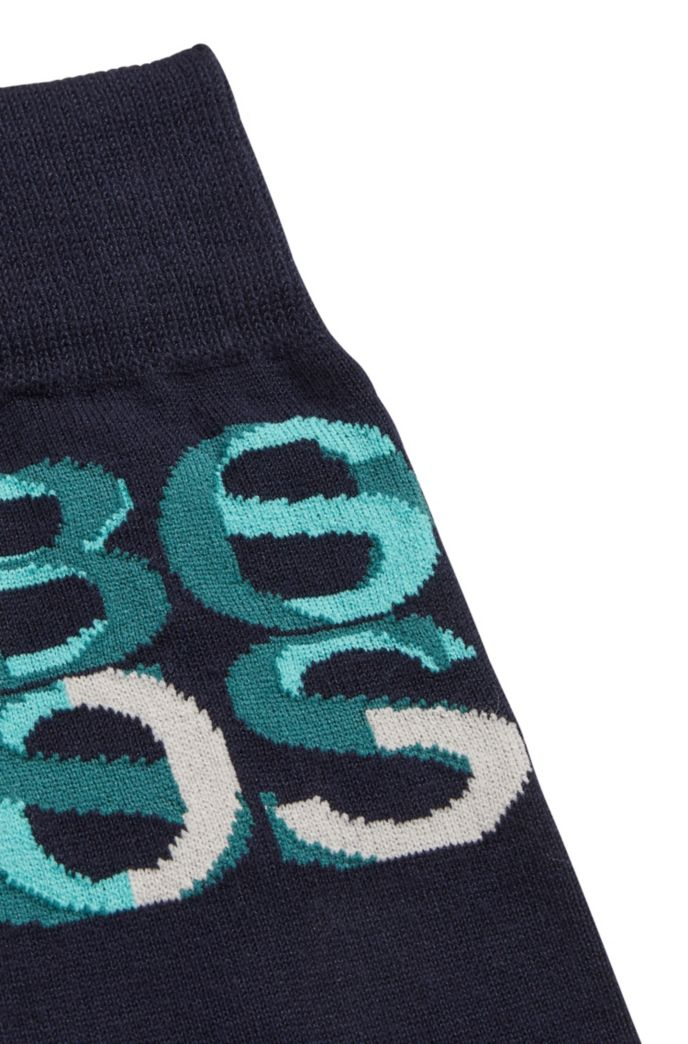 Overlapping-logo socks in bamboo viscose
