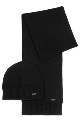 Gift-boxed scarf and beanie hat with logo-plate trims, Black